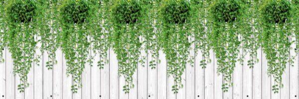 Liście na białych deskach - Osłona balkonowa